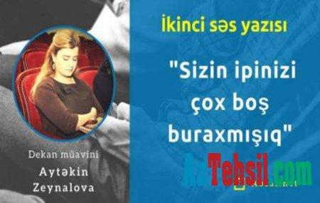 Dekan müavininin tələbələri hədələyən ikinci səs yazısı üzə çıxdı-